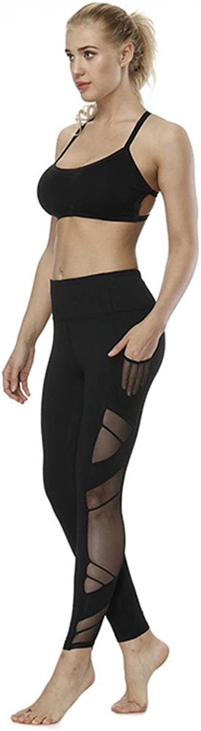 Yoga Pilates Pants Yoga Pants Summer Stretch QuickDry Fitness Running Mesh Trousers Outdoor Sports Trousers Leggings (Size   L)