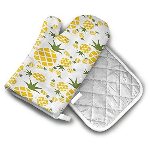 Ofenhandschuhe und Topflappen-Sets Ananas Piktogramm dekorative Ofenhandschuhe und Topflappen