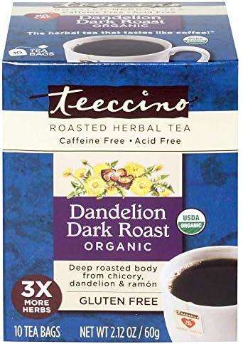 Teeccino Dandelion Tea Dark Roast Roasted Herbal Tea Organic Roasted Dandelion Root Prebiotic product image