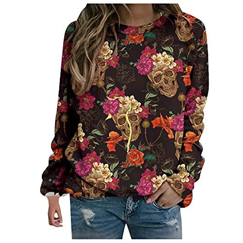 Sweatshirt Damen Halloween Motiv Drucken Pulli Casual Elegant Bluse Herbst Angenehm Weich Tee Baggy Atmungsaktiv Damenblusen übergangs Blusentop Streetwear