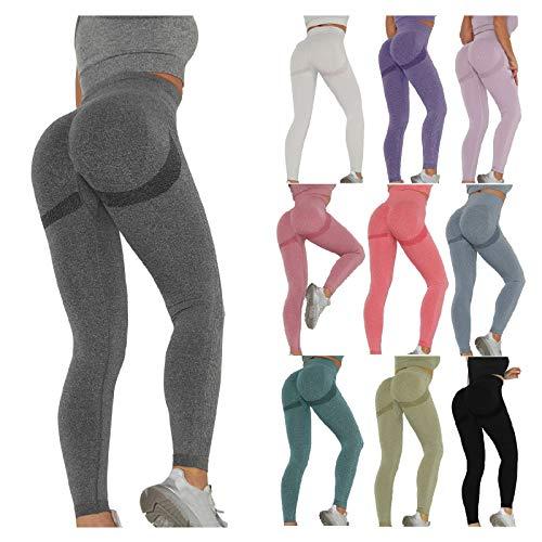 Keepwin Leggins Push Up Mujer Mallas de Deporte de Mujer Pantalones Largos Deportivas Mujeres Elásticos Pantalon de Talle Alto para Yoga Running Gym Fitness Seamless (Azul, Medium)