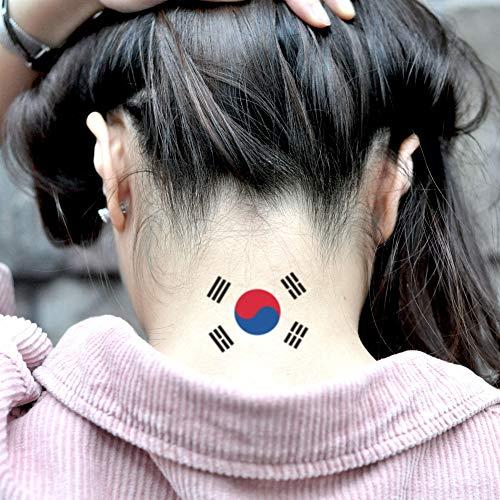Korean Flag Temporary Tattoo Sticker (Set of 2) - www.ohmytat.com