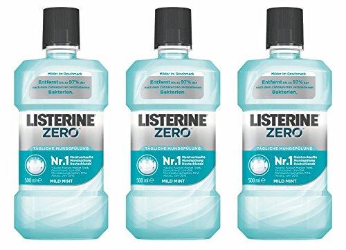 LISTERINE ZERO Mundspülung – Antibakterielle Mundspülung mit milderem Geschmack – 3er Pack (3 x 500ml)