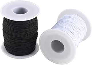 FOGAWA 0.8 mm Elastic Cord 2 Roll Beading Cord Stretch String Fabric Craft Nylon Elastic Rope Cord for Craft Jewelry Bracelet White and Black (100 m)