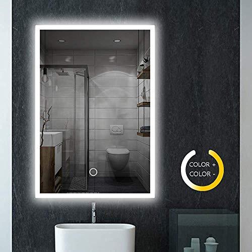 LED Badspiegel mit Beleuchtung, 80x60cm Wandspiegel mit Touchschalter + Beschlagfrei, Badezimmerspiegel Dimmbar Warmweiß/Kaltweiß/Neutral, 3000-6000K Energiesparend Lichtspiegel