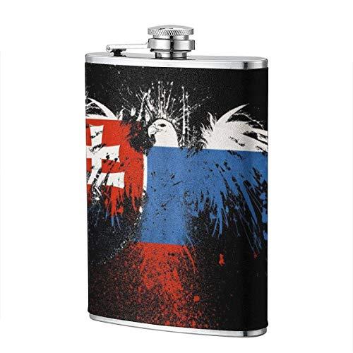XBYC Grunge Flagge der Slowakei Flasche für Alkohol, 8 Unzen auslaufsichere Edelstahl Tasche Hüftflasche mit Lederbezug, Whisky Weinflasche, Geschenk für Männer Frauen