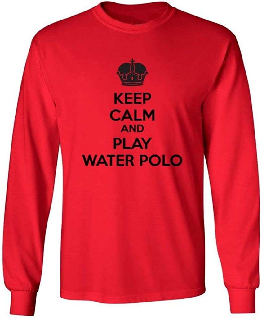Mashed Clothing Big Boys' Keep Calm and Play Water Polo Kids Long Sleeve T-Shirt