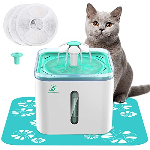 Cat Water Fountain 2.5L Automatic Pet Water Fountain for Dogs and Cats Pet Water Bowl Dispenser with 3 Replaceable Filter and 1 Silicone No-Slip Mat...