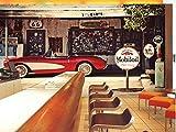 3D Mural Papel Tapiz Papel De Pared Restaurante Cafetería Bar Fondo Retro Nostalgia Coche De Época...