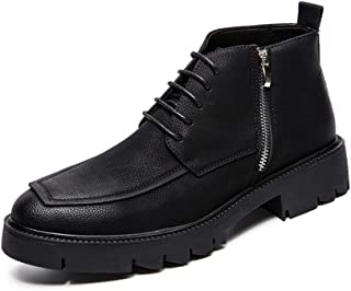 Xiang Ye Men's Business Boots Casual with Outsole and Thick Bottom Side Zipper Lace Up High Top Boot (Color : Black, Size : 6 UK)
