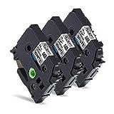 白 ピータッチテープ 12mm 互換 ブラザー ピータッチ テープ 12mm ピータッチキューブ テープ TZe-231 TZe231, ブラザー ラベルライタ PT-J100 PT-190 PT-P300BT PT-P710BT 汎用, 3個セット