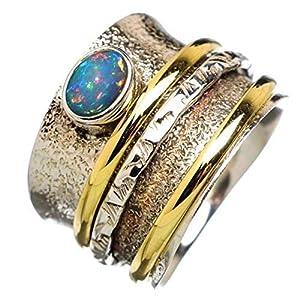 Äthiopischer Opal Spinner Ring, Drei-Band-Ring, Angst Ring, strukturierter Sterling Silberring, Statement Ring