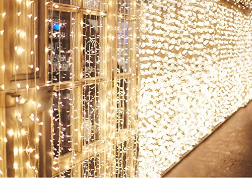 KINGTOP 600 LED Window Curtain Lights Mains Powered 6m x 3m Warm White Fairy String Lights for Bedroom Garden Gazebo Staircase Wedding Christmas Party Indoor & Outdoor Decoration