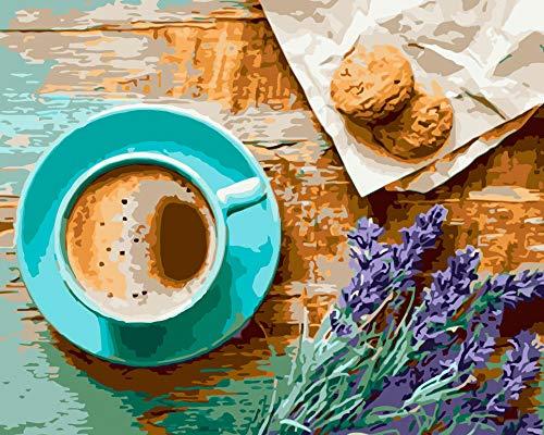 Dolomq DIY Ölgemälde Kit Malen Nach Zahlen Kit Für Erwachsene Anfänger Kinder Kaffeetasse E8520 Home Haus Dekor 16X20 Zoll Ohne Rahmen