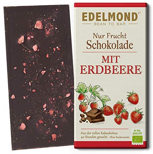 Nur Frucht Erdbeer Schokolade von Edelmond. Bio Kakaobohne und Rohkost nur fruchteigener Zucker (1 Tafel)