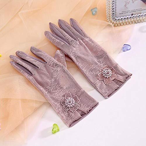 BPFSST Damen-Sonnenschutzhandschuhe Damen-Spitze-Kurzhandschuh Rutschfestes Fahren in Sommerhandschuhen Mode-Damen-Baumwollhandschuh-Breathable-Sonnenschutz-Touchscreen-Handschuhe (Color : Purple)