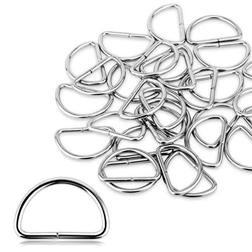 Alcoon D-Ringe aus Metall, 30 mm, nicht geschweißt, vernickelt, D-Ringe für Tasche, Schnalle, Gurte, Rucksack, Bastelzubehör, Silberfarben, 30 Stück