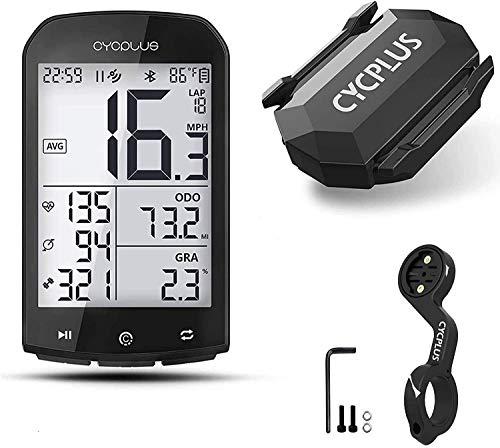 CYCPLUS GPSサイクルコンピュータ&マウント&ケイデンス&スピードセンサー 大画面 盗難防止マウント付き 自転車スピードメーター STRAVAデータ同期 心拍数 高度計 防水