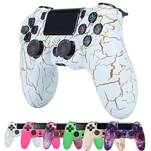 ZQYR Wireless Game Controller Compatible with PS4/PS4 Pro/Slim, with Audio and Dual Vibration, LED Indicator, Touchpad and Anti-Slip
