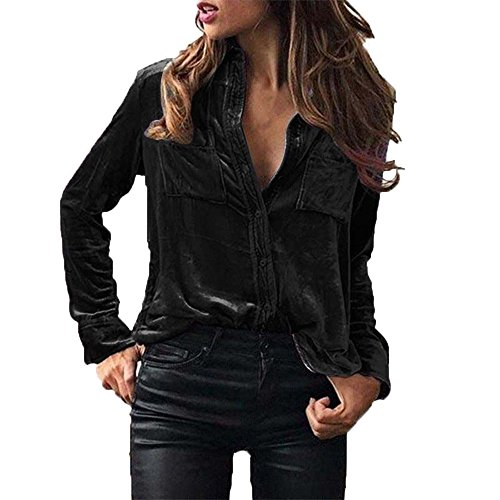 Overdose Women Blouse Velvet Turn-Dowm Collar Long Sleeve T-Shirt Tops (10, Black)