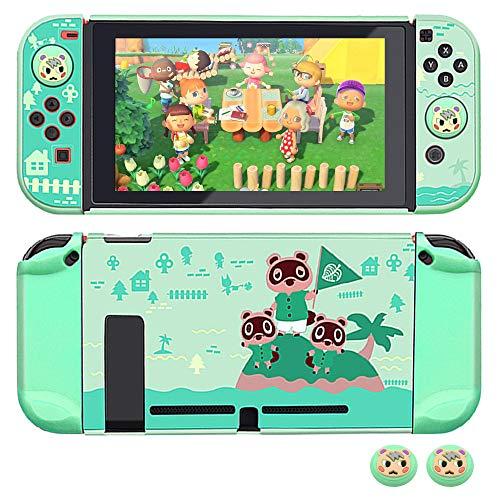 Dockable Hülle für Nintendo Switch, FANPL Schutzhülle für Nintendo Switch und Joy Con Controller mit 2 Marshal Design Daumengriffen - (Animal Crossing Island Version)