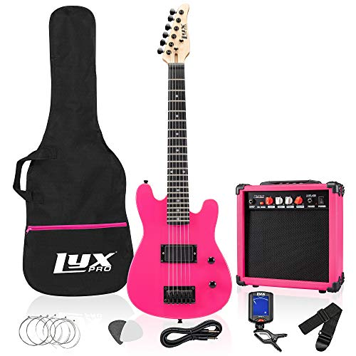 LyxPro 30 Inch Electric Guitar and Starter Kit for Kids with 3/4 Size Beginner's Guitar, Amp, Six Strings, Two Picks, Shoulder Strap, Digital Clip On Tuner, Guitar Cable and Soft Case Gig Bag - Pink
