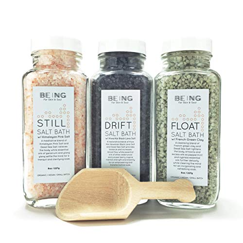 LIVE BY BEING Bath Salt Spa Gift Set Collection – All-Natural, Vegan, Handmade, Organic Essential Oils for Muscle Aches, Mineral Rich Skin Hydration, Calming Relaxation & Restful Sleep
