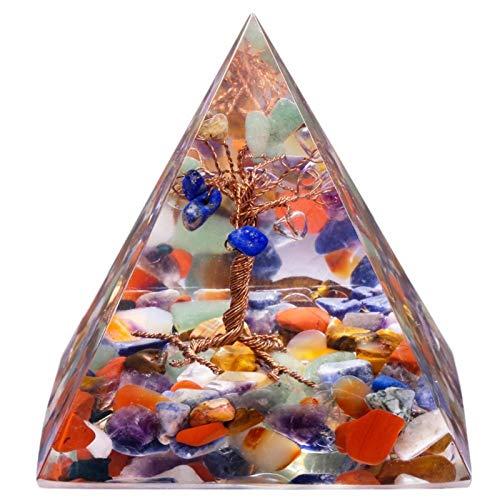 ZTTT Kupferdraht Baum des Lebens Stein Pyramiden Kies Harz Figur Decor (Color : Tree of Life Pyramid)