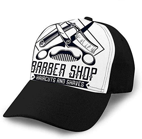 ZYZYY Baseballmütze Barber Shop Logo Vintage Label Kamm Rasiermesser Schere Einfache Frauen Freizeit Snapback Bedruckte Baseballmütze Mit Flacher Krempe