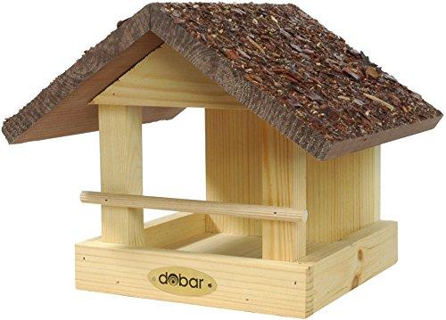 dobar 38120FSCe Vogelhaus klein aus Holz mit Rindendach, 20 x 22.5 x 18 cm