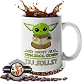 Tasse mit Spruch - Geschenk - [Lebenslange Farbgarantie] 'Du nicht auf den Sack gehen - Du sollst!' Kaffeetasse - lustige Tasse für Büro + [GRATIS Untersetzer] - lustig - Geschenk für Freund (weiß)