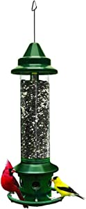Squirrel Buster Plus Squirrel-proof Bird Feeder w/Cardinal Ring and 6 Feeding Ports, 5.1-pound Seed Capacity, Adjustable, Pole-mountable (POLE ADAPTOR SOLD SEPARATELY), Green