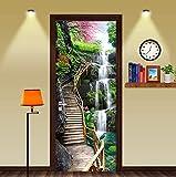 FLFK 3D Puente de Caballete de Cascada Adhesivo Vinilos Puerta Pegatina Pared Murales para Cocina Sala de Baño Decorativos 77X200cm
