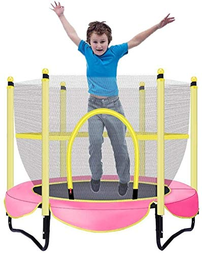 YAOJIA Indoor trampoline 5ft Trampolines For Kids | Indoor Trampoline With Enclosure Net Jumping Mat And Spring Cover Padding,Pink