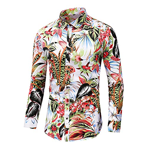 Tops for Men Personalized Colorful Printed Long Sleeve Fashion Slim Fit T-Shirts Autumn Casual Lightweight Blouse Tee (White, L)