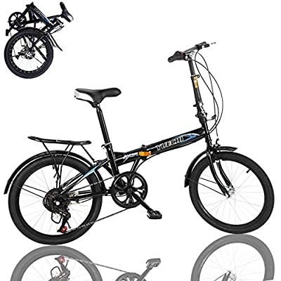 20in 7 Speed Folding Bike for Men & Women High Tensile Steel Folding Frame with V Brake Rear Carry Rack Max Weight 220lbs Mini Compact Bike Bicycle Urban Commuters (Black A)