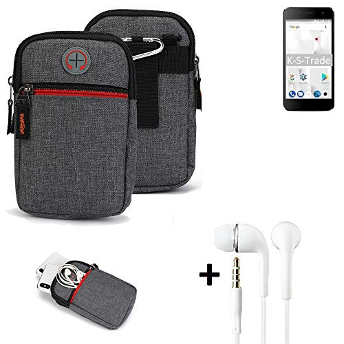 K-S-Trade Gürtel-Tasche + Kopfhörer Für Thomson Friendly TH101 Handy-Tasche Holster Schutz-hülle Grau Zusatzfächer 1x