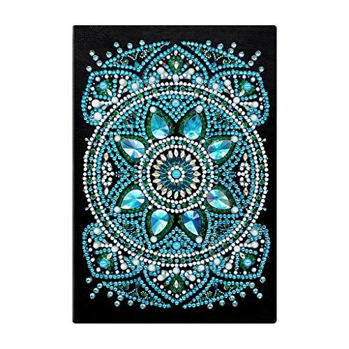 DONTHINKSO 50 páginas de diamante para pintar cuadernos DIY Mandala especial bordado punto de cruz A5 Diario Libro Artesanía