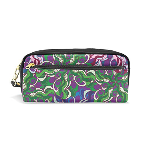 COOSUN Mandala Painting Portable PU Leather Pencil Case School Pen Bags Stationary Pouch Case Large Capacity Makeup Cosmetic Bag