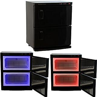 Negro de alta capacidad de dos pisos Hot toalla Gabinete & Esterilizador ultravioleta Salon Spa Belleza Equipo