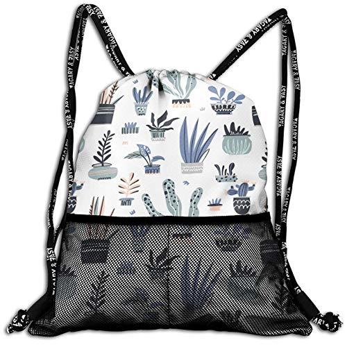 Drawstring Backpack House Plants Cactus Pot Waterproof Sports Gym Bag Lightweight String Bag Cinch Sack With Mesh Front Pockets For Men Women Children Teens