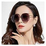 SSN Occhiali da Sole Donna Occhiali da Sole Polarizzati GM Versione Coreana della Tubazione Rotonda Viso Protezione UV Grande Viso Era Sottile (Colore : D)