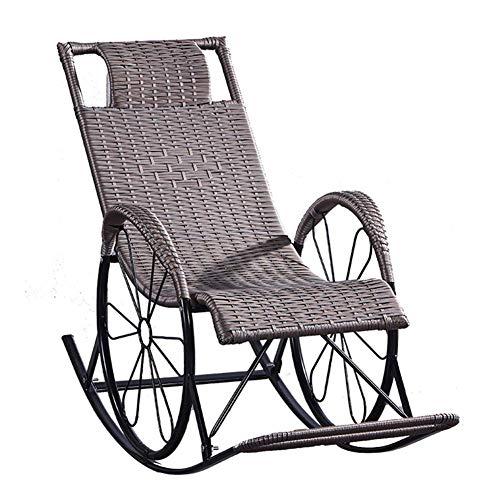 AWJ Silla Mecedora, Silla de salón Zero Gravity Sillones reclinables Vintage de Metal Resistente a la oxidación Ajustables para Exterior, Patio Interior, terraza, capaci