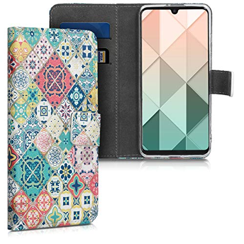 kwmobile Wallet Case kompatibel mit Huawei P30 Lite - Hülle Kunstleder mit Kartenfächern Stand Marokkanische Fliesen bunt Blau Rot Hellbraun
