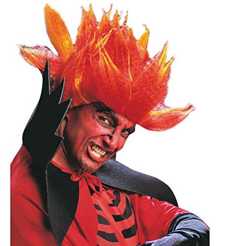 Amakando Perruque démon Diable feu d'enfer Cheveux Satan Punk Rockeur Rouge soirée à thème fête Halloween Accessoire déguisement Carnaval