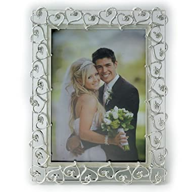 Lawrence Frames 8 by 10-Inch Silver Plated Metal Picture Frame, Open Heart Design with Crystals and Ivory Enamel
