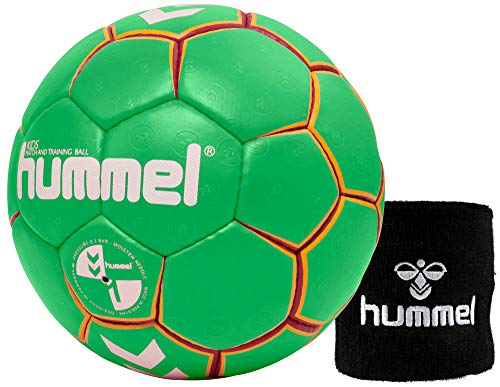 hummel Kinder Handball Kids 091792 Größe 00/0/1 im Set mit Schweißband Old School Small Wristband 99015 (schwarz) (Green/Yellow (5307), 1)