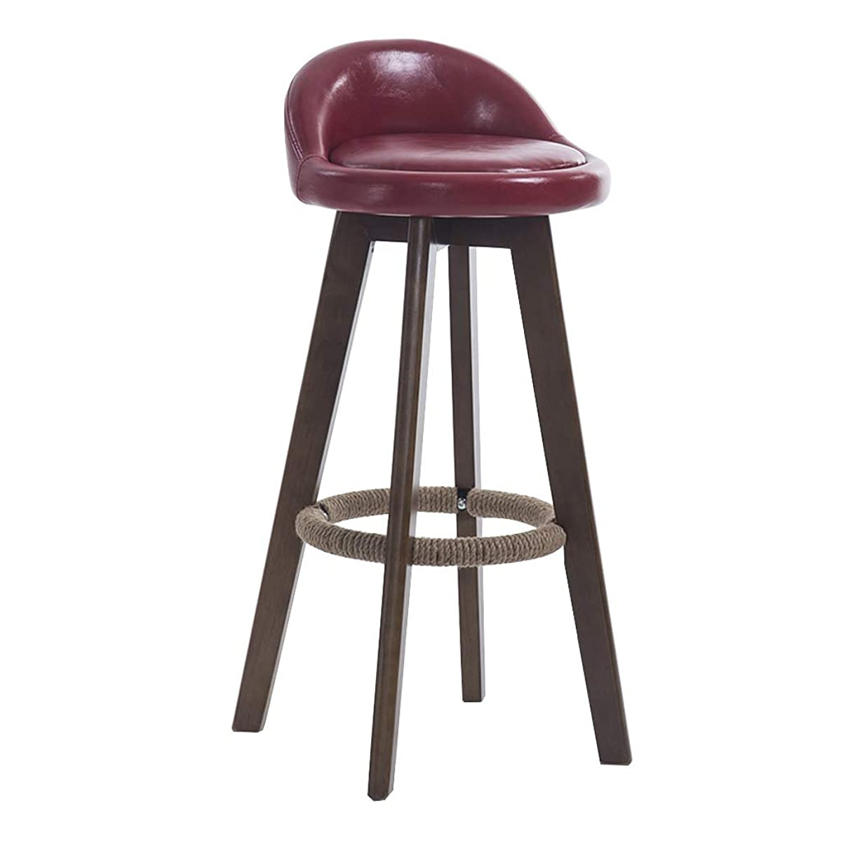 CHY Bar Stool, 360° Rotation Bar Chair, Leather Chair Wooden Footstool, Non Slip Home Kitchen Breakfast Counter High Bench, 4 Colors 63cm/73cm/83cm Simple bar Stool high Stool