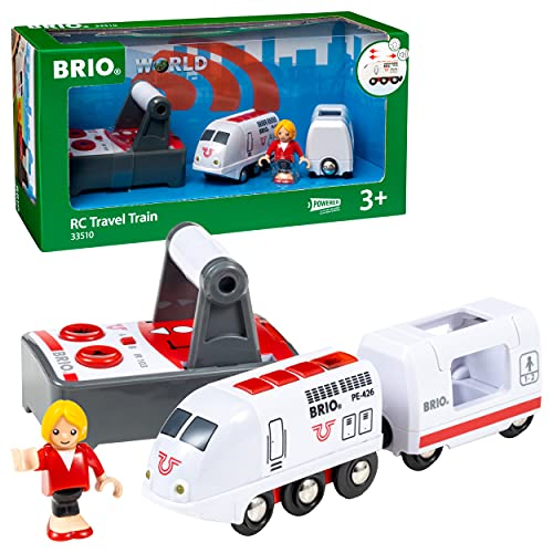 BRIO World - 33510 Remote Control Travel Train | 4 Piece Train Toy for Kids Ages 3 and Up,Multi