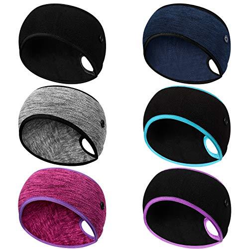 Syhood 6 Stück Frauen Pferdeschwanz Stirnband Ohrwärmer mit Knöpfen Winter Laufen Stirnbänder Schweißband Kopfwickel Warme Ohrabdeckungen für Männer Frauen Outdoor...